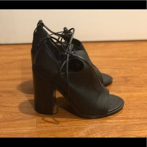 Steve Madden peep toe lace up booties